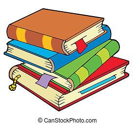 quatro, pilha, livros, antigas