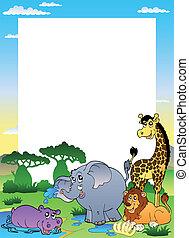 quatro, quadro, animais, africano