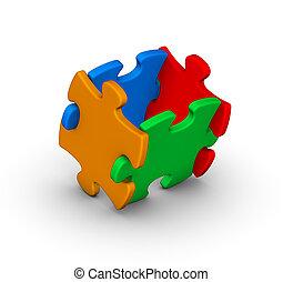 quatro, quebra-cabeça, jigsaw, coloridos, pedaços