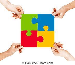quatro, quebra-cabeça, mãos, conectando, pedaços