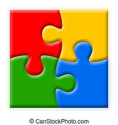quatro, quebra-cabeças, coloridos, ilustração