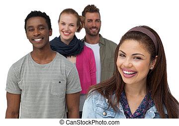 quatro, retrato, amigos, jovem, feliz
