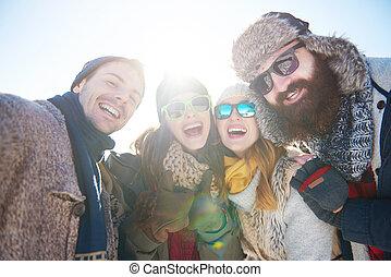 quatro, retrato, amigos, roupa, inverno