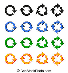 quatro, rotação, vetorial, jogo, seta