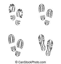 quatro, sapatos, pontilhado