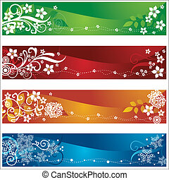 quatro, sazonal, bandeiras, com, flores