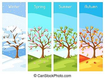 quatro, seasons., ilustração, de, árvore, e, paisagem, em, inverno, primavera, verão, autumn.