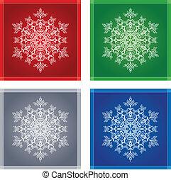 quatro, snowflakes, em, bordas