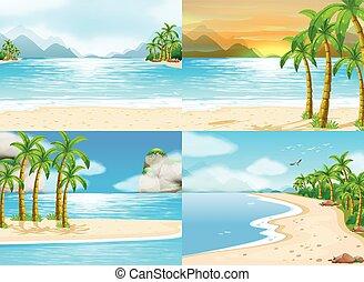 quatro, tempo, cenas, dia, oceânicos