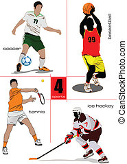quatro, tipos, de, desporto, games., footbal