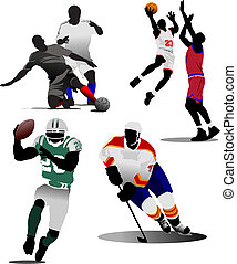 quatro, tipos, de, esporte equipe, game., vetorial, ilustração