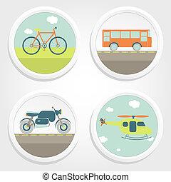 quatro, tipos, transporte