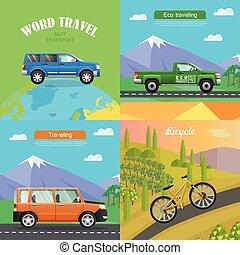 quatro, transport., ilustrações, cobrança, automático