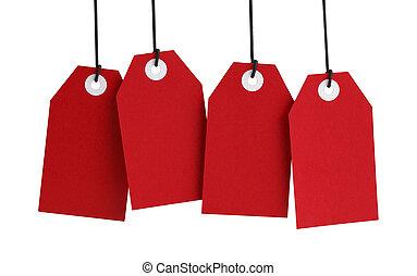 quatro, vermelho, etiquetas