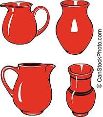 quatro, vermelho, jarros, de, diferente, shapes.