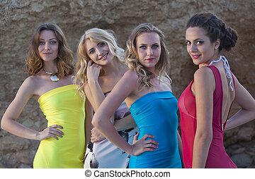 quatro, vestidos verão, mulheres