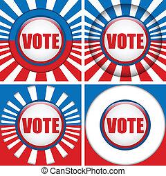 quatro, voto, buttons., jogo, fundo