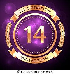 quattordici, anni, celebrazione anniversario, con, dorato, anello, e, nastro, su, viola, fondo.