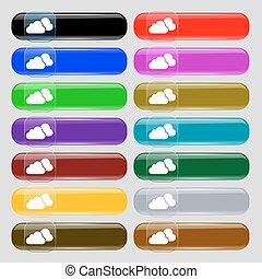 quattordici, set, nubi, segno., text., bottoni, vetro, vettore, posto, multi-colored, icona