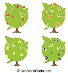 quattro, alberi frutta, illustrazione