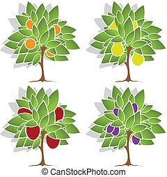 quattro, alberi frutta