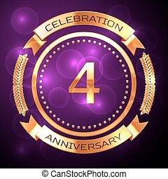 quattro, anni, celebrazione anniversario, con, dorato, anello, e, nastro, su, viola, fondo.