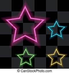 quattro, ardendo, set, neon, stelle