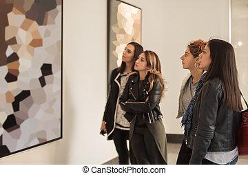 quattro, arte, amici, moderno, dall'aspetto, ragazza, pittura, galleria