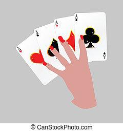 quattro assi, poker, vettore, mano