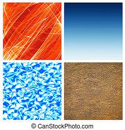 quattro, astratto, elements;, riprese ravvicinate, natura