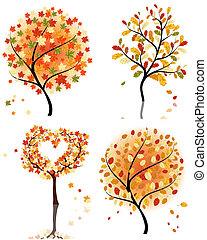 quattro, autunno, set, albero