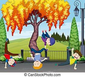 quattro, bambini, parco, ballo