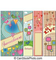 quattro, bandiere, set, amore, themed