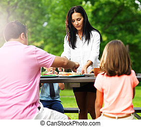 quattro, barbecue, mangiare, famiglia, cookout