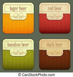 quattro, birra, etichette, disegno