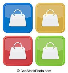quattro, borsetta, squadra triangolo, icone