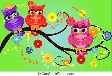 quattro, branches., valentine, seduta, inviti, augurio, couples, gufi, elementi, album, cartelle, ecc., cartelle, bello