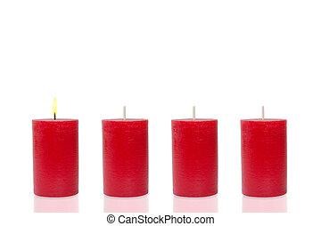 quattro, brucia, rosso, candele, uno