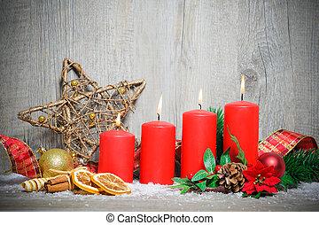 quattro, candele, avvento, urente
