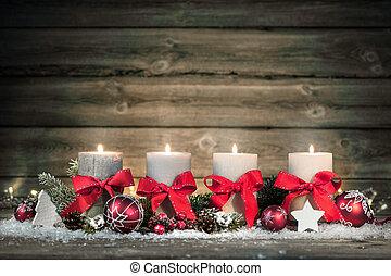 quattro, candles., decorazione, avvento, urente