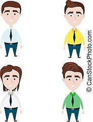 quattro, carino, differente, uomini, acconciature