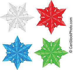 quattro, carta, fiocchi neve, colorito