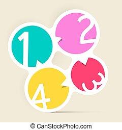 quattro, cerchio, etichette, passi, colorito