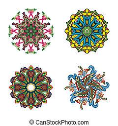 quattro, cerchio, set, fiore, mandalas