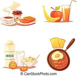 quattro, colazione, icone, compositions
