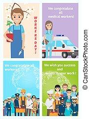 quattro, colorare, gratulatorio, cartelle, per, tutto, lavorante