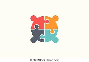quattro, connettività, creativo, logotipo, persone