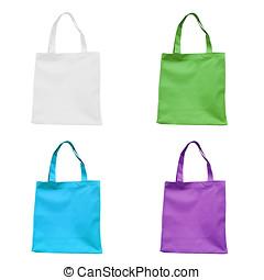 quattro, cotone, borsa, bianco, isolato, fondo.