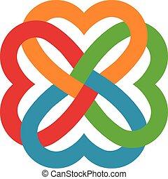 quattro, cuori, interlacciato, logotipo