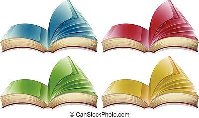 quattro, differente, libri, colori